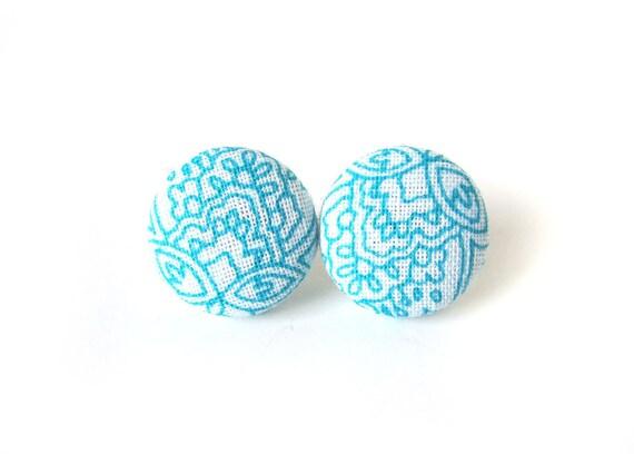 SALE Blue fabric earrings - blue button earrings - turquoise stud earrings - gift for her - white romantic