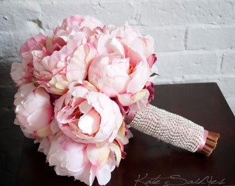 Peony Bouquet, Wedding Bouquet, Silk Bouquet, Bridal Bouquet, Pink Peony Bouquet, Silk Wedding Bouquet with Rhinestone Handle