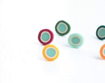 Minimal Post Earrings - Burgundy Red- Aqua Circles- everyday jewelry