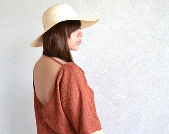 Copper Top / Blouse / Shirt / Tunic Knitted Sheer Brown And Red Melange