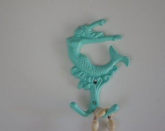 Cast Iron Mermaid Wall Hook  - Jewelry Holder - Towel Holder