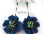 Blue flowers earrings hand felted with hand painted label folk boho hippie