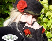 Unique hand felted hat with red roses floral ornaments
