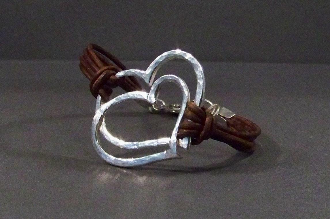 leather bracelet with sterling silver heart charm bracelet. Black Bedroom Furniture Sets. Home Design Ideas
