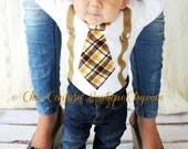 Easter Sunday Tie Baby Boy Tie and Suspenders Bodysuit. 1st Birthday Outfit, Plaid of Brown, Tan, Taupe, Mustard yellow.