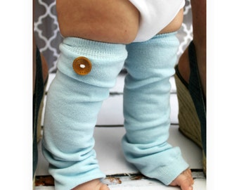 Christmas New Baby Boy Button Leg Warmers Chic Couture Boutique Exclusive.  Baby Blue with Wood Grain Button, Birthday Outfit Baby's 1st