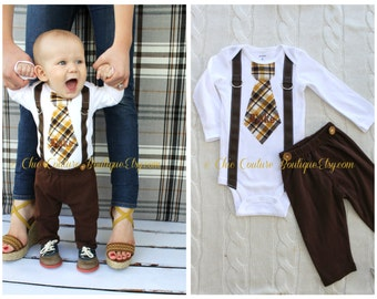 Baby Boy  NON-personalilzed Tie, and Suspenders Bodysuit w Chocolate Brown Pants w Buttons.  Christmas Holiday Outfit, Thanksgiving Set.