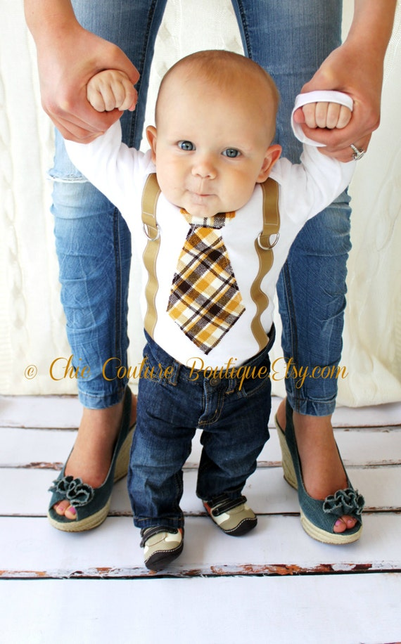 Baby Boy Tie and Suspenders Bodysuit. 1st Birthday Outfit, Plaid of Brown, Taupe, Mustard yellow. Father's Day, Newborn Coming Home Outfit