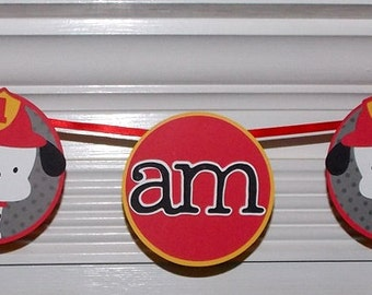 Fireman Banner READY To SHiP Dalmatian Puppy 1st Birthday High Chair Banner Red Black Yellow