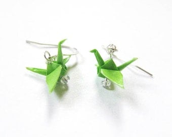 "Origami Crane earrings Miniature 3/4""   - Bright Green Paper Crane Earrings Solid Color"