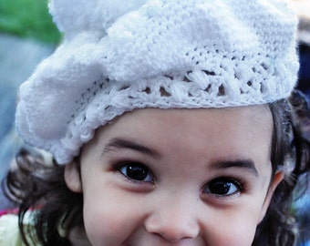SALE 12 to 24m White Slouch Hat Pom Pom Hat Crochet Baby Beret - White Beret Hat Sparkly Baby Hat Toddler Prop Photo Prop Gift Costume Gift