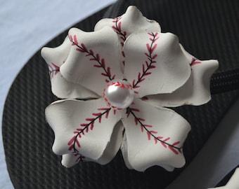 Baseball flower flip flops