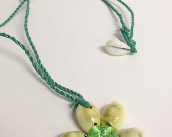 Recycled Upcycled Beach Trash Cowry Shell Necklace