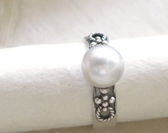 Pearl Engagement Ring, Shiny South Sea Pearl, Sterling Silver Ring