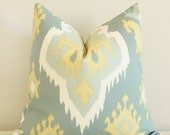Blue and Golden Ikat  Pillow Cover