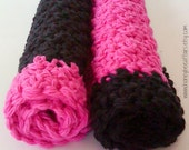 Cotton Textured Washcloths Dishcloths - Set of 2 - Hot Pink & Black