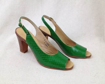 Vintage 1970s Green pumps Open Toe Slingback Cobra Kelly green Palter Size 7 Narrow Retro