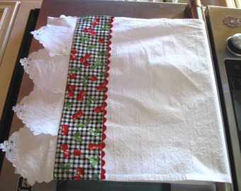 Flour Sack Kitchen/Dish/Towel- vintage repurposed linen textiles with embroidery and cut work//Cherries and gingham