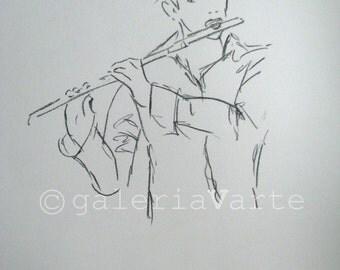 original charcoal drawing  - FLUTIST - music - europeanstreetteam