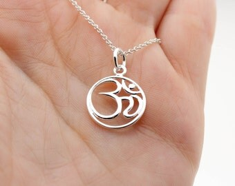Sterling Silver Ohm Necklace - Yoga Jewelry . Gift Ideas for Her, Friend . Zen, Meditation & Spirituality