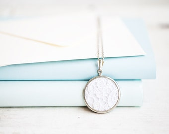 White lace necklace - bridesmaid necklace - lace jewelry - wedding jewelry - lace collection by Skrynka - l006