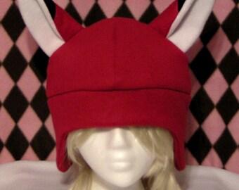 Kitsune Fox Red Fleece Hat - MADE TO ORDER