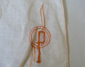 Vintage Hankie Pretty in peach with a deco stylized  P