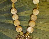 Triple Charm Natural Mother of Pearl Shell Bead Bracelet