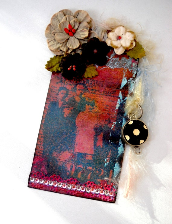 Grunge Family Altered Tag, Altered, Brick red, Ooak