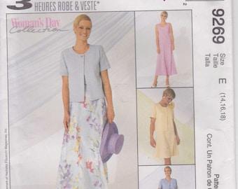 CLEARANCE Dress Pattern Jacket Pattern Uncut Size 14, 16, 18  McCalls 9269