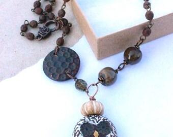 Earthy, woodland, forest, owl pendant, polymer clay, Somethingtodo, ceramic beads, Gaea, Czech glass, mixed media necklace by Esfera Jewelry