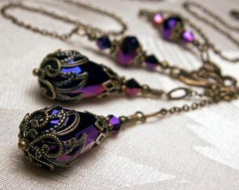 Metallic Amethyst Purple Crystal Drop Victorian Choker Necklace, Antiqued Gold Filigree Titanic Temptations Vintage Steampunk Bridal Jewelry