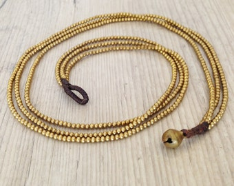 Antique Gold Beaded Necklace, 3 Strand Brass Seed Beads Necklace, Everyday Casual Fashion, Bohemian Simple Necklace, Dainty Brass Jewelry