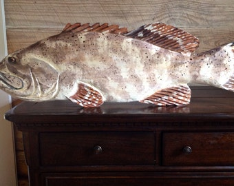 """Goliath Grouper 36"""" chainsaw carving wooden Jewfish sculpture beach bungalow art coastal indoor outdoor seaside villa trophy wall mount"""