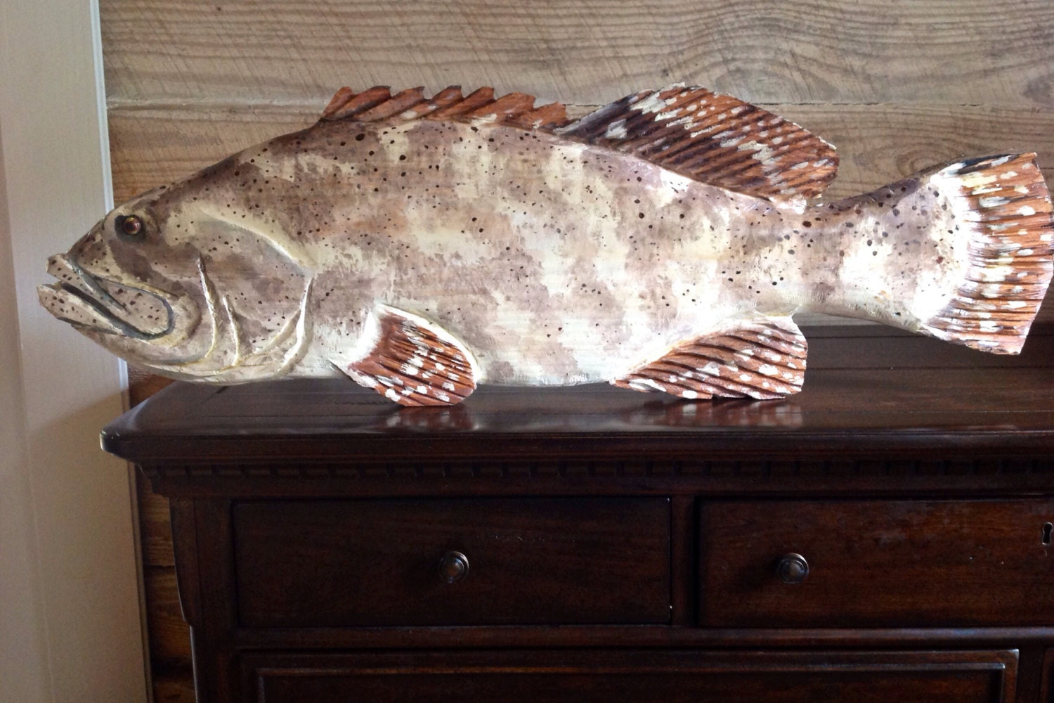 Goliath grouper chainsaw carving wooden jewfish