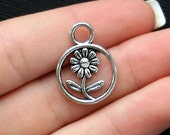 BULK 50 Daisy Charms Antique  Silver Tone 2 Forget Me Not Charm - SC881
