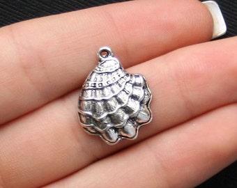 8 Shell Charms Antique  Silver Ocean Themed Shell  - SC1930
