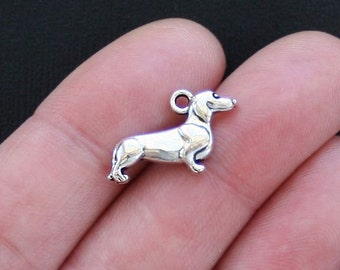 8 Dachshund Charms Antique  Silver Tone - SC2884
