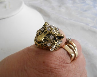 "Vintage ring, ""Cougar"" ring, brass and crystal ring, jungle cat ring, size 6 & 1/2 ring, statement ring, unique ring"