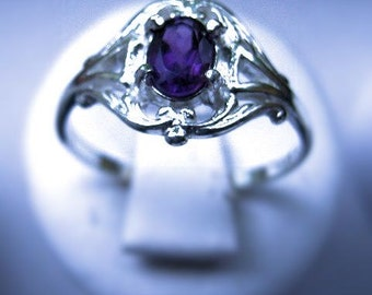 Sweet Amethyst Ring Sterling Silver Handmade Custom Genuine Gemstone Purple iolite White Blue Topaz Moonstone fine jewelry size 6 6.5 7 7.5