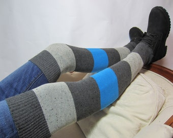 Thigh Highs Sock Striped Leg Warmers Boot Socks Charcoal Gray Grey Black Stripe Knit A983