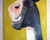 Horse Painting Canvas Art 30x40 Black and Yellow Theodore the Horse