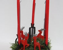 Vintage Plastic Wreath Centerpiece Candle Ring Red Flocked Reindeer 60s Mad Men Style