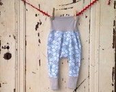 Baby Harem Pants - Toddler Harem Pants - White and Gray Clouds on Light Blue (VERY Limited Fabric)