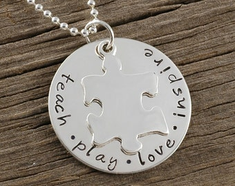 Teach Play Love Inspire - Puzzle Piece - Autism - Hand Stamped Necklace