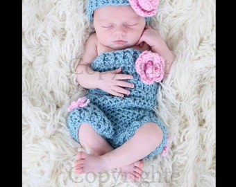 Baby Girl Romper and Headband Set, Newborn Romper and Headband, Crochet Baby Romper Set , Crochet Newborn Baby Photo Prop
