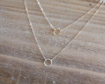Layered Necklace - Tiny Eternity Circles Necklace - Double Chain Necklace - Mixed Metal Gold and Silver
