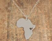 Africa Pendant Map Sterling Silver Heart Africa Ethiopia Adoption Necklace Kenya Ciondolo Africa Heart Necklace Custom Adoption Pendant
