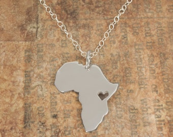 Africa Pendant Map Sterling Silver Heart Africa Ethiopia Adoption Necklace Kenya Ciondolo Africa Heart Necklace Custom Adoption Pendant