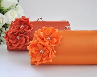 Orange / Burnt Orange - Bridesmaid Clutch / Bridal clutch - Choose the color you like